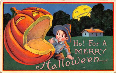 hol012597 - Halloween Post Card Old Vintage Antique