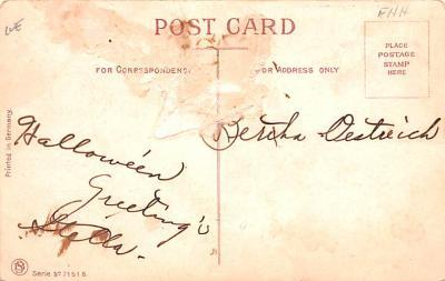 hol012597 - Halloween Post Card Old Vintage Antique  back