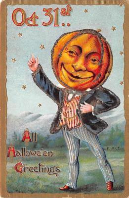 hol012975 - Halloween Post Card Old Vintage Antique