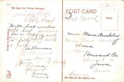 hol012975 - Halloween Post Card Old Vintage Antique  back