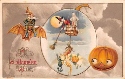 hol012989 - Halloween Post Card Old Vintage Antique