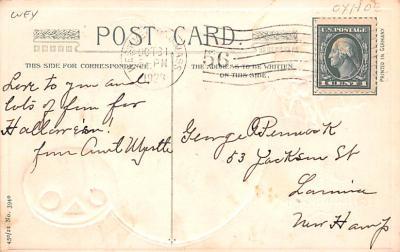 hol012989 - Halloween Post Card Old Vintage Antique  back