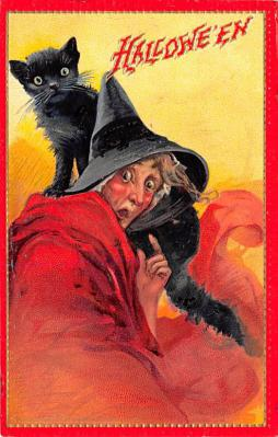hol014239 - Halloween Post Card Old Vintage Antique