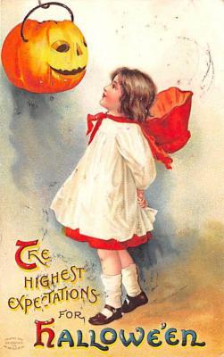 hol014245 - Halloween Post Card Old Vintage Antique