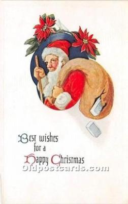 hol016048 - Santa Claus Postcard Old Vintage Christmas Post Card