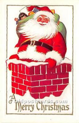hol016091 - Santa Claus Postcard Old Vintage Christmas Post Card