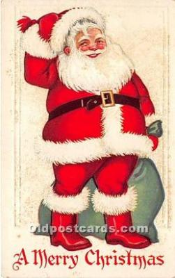 hol016112 - Santa Claus Postcard Old Vintage Christmas Post Card
