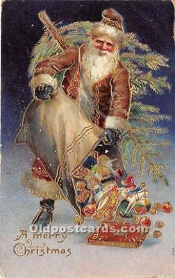 hol016121 - Santa Claus Postcard Old Vintage Christmas Post Card