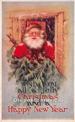 hol017163 - Santa Claus Postcard Old Vintage Christmas Post Card