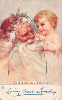 hol017540 - Santa Claus Postcard Old Vintage Christmas Post Card