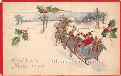 hol017547 - Santa Claus Postcard Old Vintage Christmas Post Card