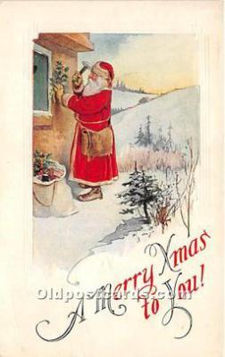 hol017557 - Santa Claus Postcard Old Vintage Christmas Post Card