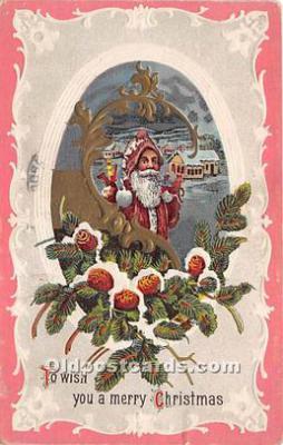 hol017585 - Santa Claus Postcard Old Vintage Christmas Post Card