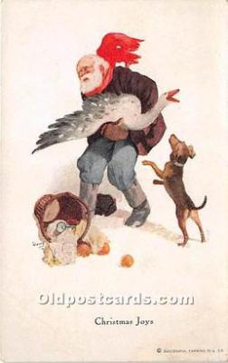 hol017601 - Santa Claus Postcard Old Vintage Christmas Post Card