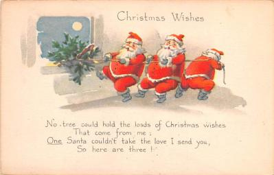 hol018495 - Santa Claus Christmas Old Vintage Antique Postcard