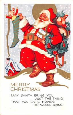 hol018501 - Santa Claus Christmas Old Vintage Antique Postcard