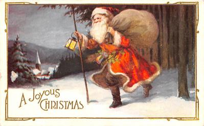 hol018653 - Santa Claus Christmas Old Vintage Antique Postcard