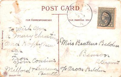 hol018657 - Santa Claus Christmas Old Vintage Antique Postcard  back