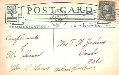 hol051869 - Christmas Postcard Old Vintage Antique Post Card  back