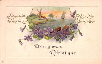 hol051895 - Christmas Postcard Old Vintage Antique Post Card