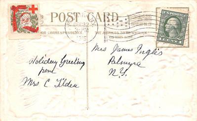 hol051951 - Christmas Postcard Old Vintage Antique Post Card  back