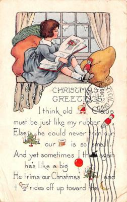 hol052169 - Christmas Postcard Old Vintage Antique Post Card