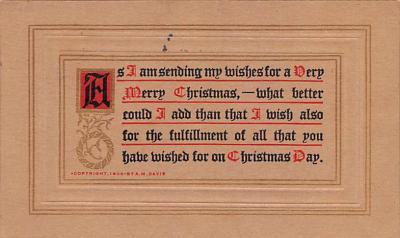 hol052251 - Christmas Postcard Old Vintage Antique Post Card