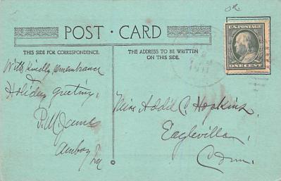hol052525 - Christmas Postcard Old Vintage Antique Post Card  back