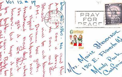 hol052533 - Christmas Postcard Old Vintage Antique Post Card  back
