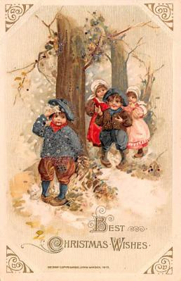 hol052591 - Christmas Postcard Old Vintage Antique Post Card