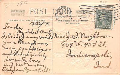 hol052621 - Christmas Postcard Old Vintage Antique Post Card  back