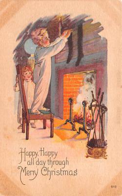 hol052837 - Christmas Postcard Old Vintage Antique Post Card