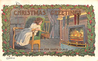 hol052867 - Christmas Postcard Old Vintage Antique Post Card