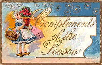 hol052885 - Christmas Postcard Old Vintage Antique Post Card