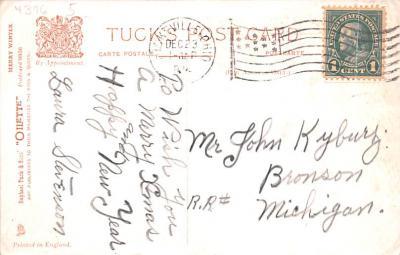 hol052915 - Christmas Postcard Old Vintage Antique Post Card  back
