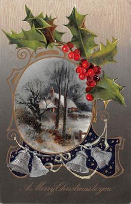 hol052937 - Christmas Postcard Old Vintage Antique Post Card