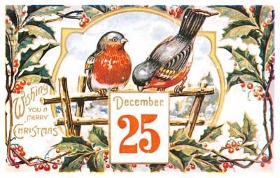 hol054115 - Christmas Postcard Old Vintage Antique Post Card