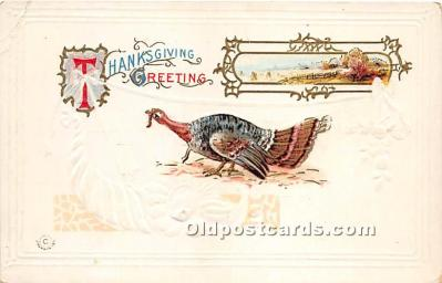 hol061355 - Thanksgiving Old Vintage Antique Postcard Post Card
