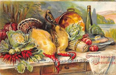 hol061640 - Thanksgiving Old Vintage Antique Postcard Post Card