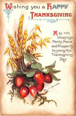 hol064399 - Thanksgiving Postcard Old Vintage Antique Post Card