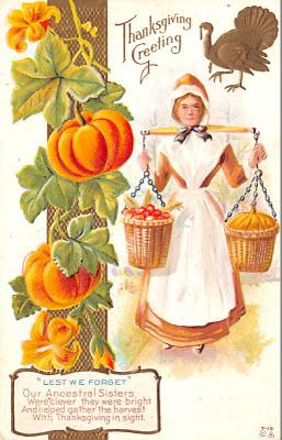hol064721 - Thanksgiving Postcard Old Vintage Antique Post Card