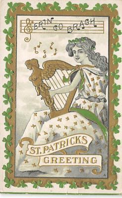 holA070388 - Harp, Erin Go Bragh Saint Patrick's Day Postcard
