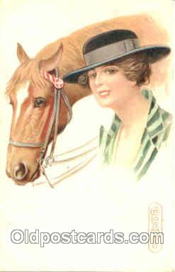 hor001036 - Artist Colombo, Horse Horses Postcard Postcards