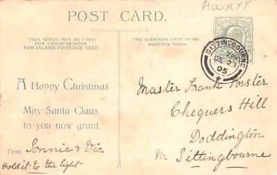 htl001002 - Green Robe, Hold To Light Santa Claus, Chirstmas, Postcard Postcards  back