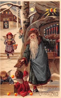 htl001003 - Green Robe, Hold To Light Santa Claus, Chirstmas, Postcard Postcards