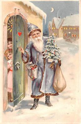 htl001006 - Purple Robe, Hold To Light Santa Claus, Chirstmas, Postcard Postcards