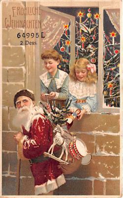 htl001185 - Santa Claus Hold To Light Post Card Old Vintage Antique