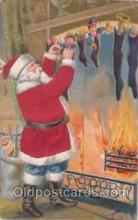 hol000033 - Christmas, Santa Claus Silk Postcard Postcards