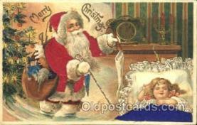 hol000034 - Silk Santa Claus Postcard Postcards