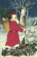 hol000041 - Silk Santa Claus Postcard Postcards